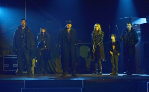 "THE STRAIN ""The Master"" -- Episode 13 (Airs Sunday; October 5; 10:00 pm e/p) -- Pictured: (L-R) Kevin Durand as Vasily Fet, Mia Maestro as Nora Martinez, David Bradley as Abraham Setrakian, Ruta Gedmintas as Dutch Velders, Ben Hyland as Zack Goodweather, Corey Stoll as Ephraim Goodweather. CR: Michael Gibson/FX"